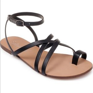 Splendid Sully Toe Strappy Sandal 9.5 Black NWT